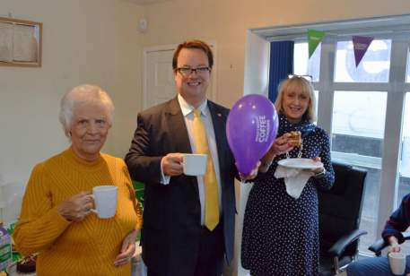 Mike holds a coffee morning for Macmillan Cancer Support at his office in Wordsley